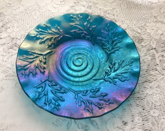 Fused Glass Dish, Iridescent Peacock Blue Oak Leaf Texture Bowl, Decorative Art Glass Plate - 060