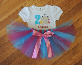 Personalized Baby Girl's First Birthday Beach Sand Castle Seashore Bodysuit Tutu Set 1st (2nd also available)