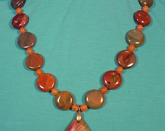 Absolutely GORGEOUS Piccasso Jasper Necklace! - N390