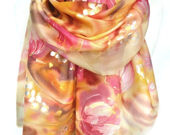 Tulips Hand Painted Scarf. Gift idea for Her. Yellow Gold Scarf. Art to Wear Silk Painting Women Scarf Shawl Unique Gift 18x71in MADEtoORDER