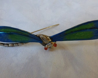 Vintage Style Dragonfly of Brass with Blue and Green Irridescent Wings and Amber Eyes