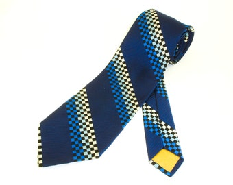 1970s Disco Era Wide Tie Mens Vintage Blue Polyester Necktie with black, white and blue checkerboard designs Golden Clasp by Prince Consort