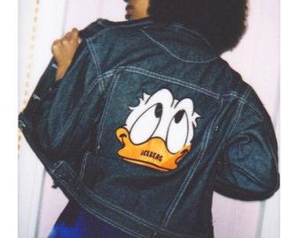 Cute denim donald duck customised jacket