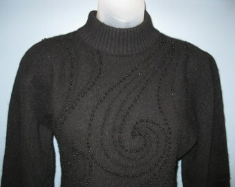 Vintage 1980's Black Lambs Wool and Angora Sweater Hipster Beaded Pullover
