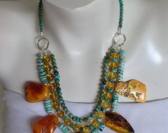 Turquoise, Amber Multi Strand Chunky Statement Necklace, .925 Sterling Silver