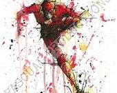 The Flash Superhero DC Comic Watercolor Painting Print Flash