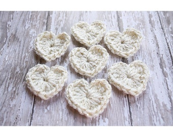 Crochet Heart Applique Crochet Applique Crochet Hearts Gold Sparkle Heart Wedding Decor Gift Wrapping Table Confetti Valentines Day Decor