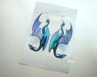 Dragon Earrings, 9 colours available, iridescent acetate earrings, pierced ear, latch back or clip on