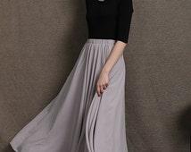 Chiffon Maxi Skirt Silk Skirts Gray Elastic Waist Summer Skirt C572
