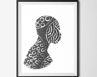 Seeds v1 - Art Print - Illustration - Lino Print - Relief Print - Afrocentric - Black Art - African Art - Wall Art - 2 Sizes Available