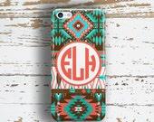 Tribal fashion accessory, Aztec Iphone 6 plus case, Monogram Iphone 6s plus case, Orange IPhone 4s case, Girls Iphone 4 case aqua (1194)