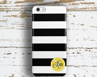 Gifts for her, Monogram Iphone 6 Plus case, Striped iPhone 5c case, Black iPhone 5 case, Cute iphone 6s case, Black stripes gold name (1322)