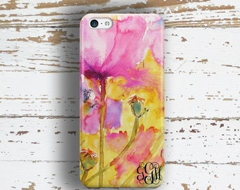 Gifts for best friend, Floral Iphone 6 case, Monogram Iphone 5 case, Personalized iPhone 5c case, Flowers iPhone 4 case, Yellow pink (1398)