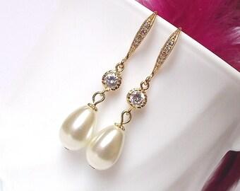 Gold pearl drop earrings wedding earrings gold bridal earrings pearl earrings cubic zirconia & pearl bridesmaid earrings gold bridal jewelry