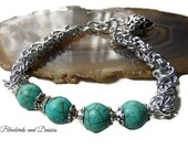 Turquoise Howlite and Chainmaille Bracelet