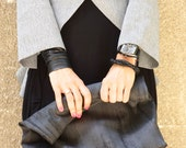 New LIMITED EDITION Genuine Leather Black Hand Bag / High Quality  Rubber Covered  Bag with inside pockets by AAKASHA A14255