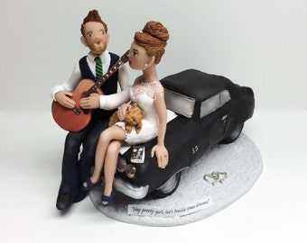 Custom Bride and Groom on Classic Car, Wedding Cake Topper