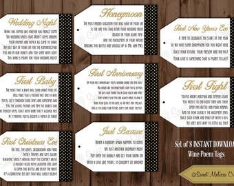 INSTANT DOWNLOAD -1st Milestone Gold & Black Wine Tags Poems- Digital File -Showers/Bachelorette Party/Wine Baskets Sweet Melissa Creations
