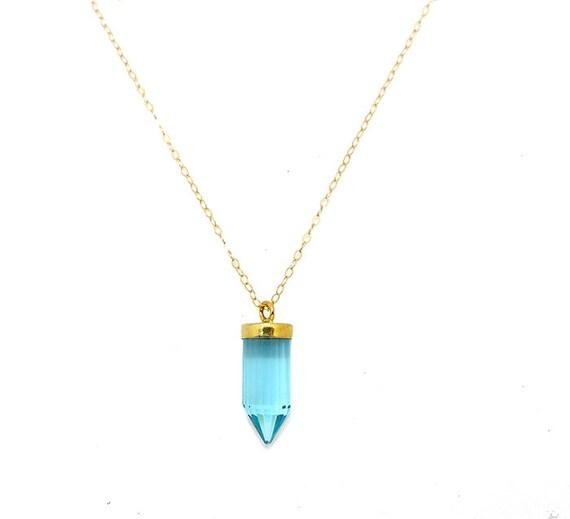 Quartz Crystal Point Necklace - Quartz Necklace - Quartz Jewelry - Blue Spike Necklace