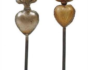 Religious Ex Votos Milagros Flaming Heart Tin Sacred Heart on stand locket set of two