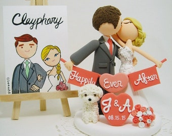 Romantic couple with a dog Custom wedding cake topper