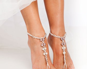Vintage Pink Beaded Barefoot sandals Bridal foot jewelry Beach wedding Barefoot Sandals Bridal barefoot sandal Wedding accessory Stretch