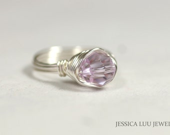 Lavender Swarovski Crystal Ring Wire Wrapped Jewelry Handmade Sterling Silver Jewelry Handmade Swarovski Crystal Jewelry Lavender Ring
