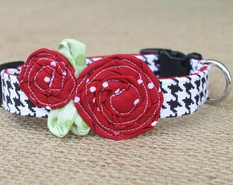 Team Dog Collar - Houndstooth with Crimson Dot Flowers and Green Leaves