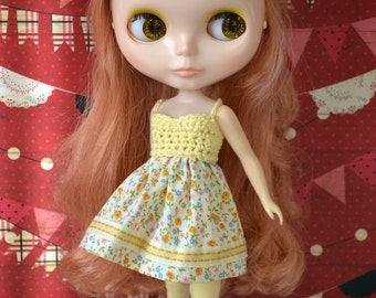 Garden Party Dress for Neo Blythe - Yellow Floral