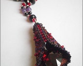 The scarlet letter - Romantic gothic necklace with red zirconia