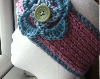 Ear-warmer Headband with Blue Flower