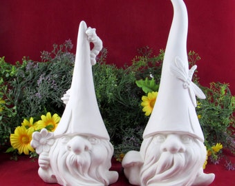Set of Two Ceramic Ready to Paint Nature Garden Gnome - One medium, one large,  lawn or garden gnome, outdoor or indoor