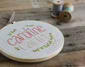 Personalized Baby Embroidery Hoop / Ombre Coral and Rustic Vine / Nature