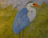 Blue Heron oversized painting original watercolor batik on rice paper cobalt blue canary yellow vintage-like distressed look 17x24inches