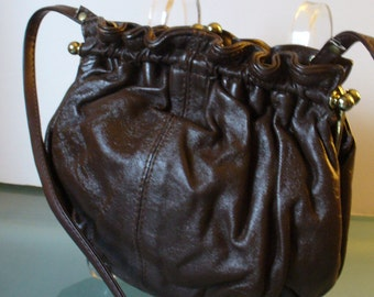 Vintage Made in Italy Chocolate Brown Ruched Shoulder Bag