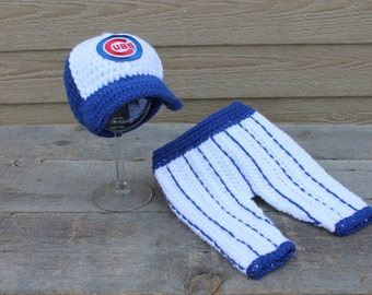 Chicago Cubs Baseball Hat & Pants Set - Newborn Sized