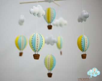 Turquoise yellow baby mobile - yellow and blue baby mobile - pastel baby mobile - up in the air - up in the sky