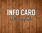Printable Information Card Order Upgrade
