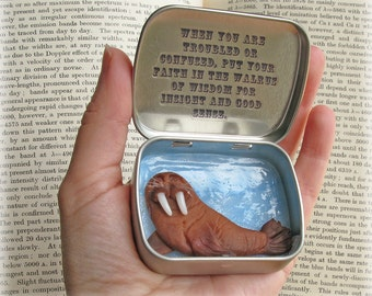 Walrus Pocket Totem Tin 'The Wonderful Walrus of Wisdom' Quirky Comforting Meditation Gift
