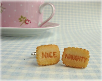 nice cufflinks polymer clay naughty and nice biscuit mens accessories