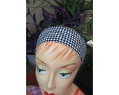Houndstooth Headband - White & Black - 100% Cotton