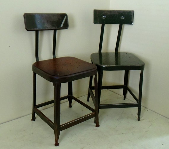 2 Vtg Industrial Steel Metal Shop Stools Chairs Lyon Drafting