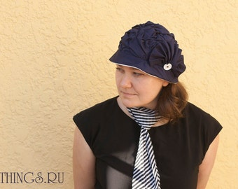 Made to order navy blue natural cotton summer hat with white, art deco flapper style woman cloche cap retro inspired, fold shape lady hat