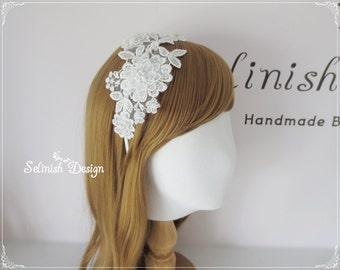 Lace Headbands, Wedding Headbands, Bridal Headband Flower, Bridal Flower Fascinator, Wedding Lace Headbands-HB155april