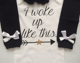 NEWBORN Baby Girl outfit -Coming home outfit - Newborn baby clothes - Preemie girl clothes- I woke up like this - baby girl clothes -