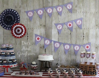 4th of July Party Set-4th of July Printables-Printable Fourth of July Party Gingham and Stars-July 4th Party-Red White Blue Patriotic Party