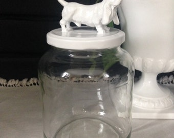Recycled Glass Jar - Basset Hound in Bright White