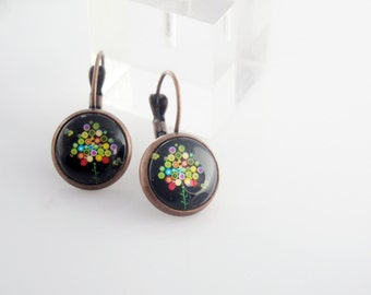 Multicolor Tree earrings on black background, Antique Bronze setting, Colorful earrings, flowering tree earrings, original round earrings