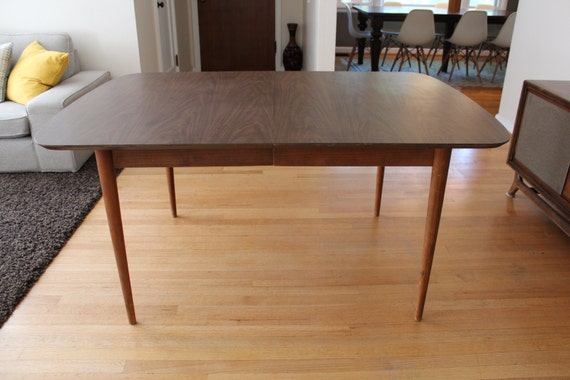 Mid Century Walnut Drop Leaf Dining Table Walter Of Wabash