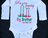 Personalized soon to be BIG BROTHER or SISTER or big cousin Christmas hospital shirt or one piece pregnancy announcement novelty